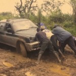 Car stuck in the mud
