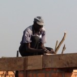 Worker on a wall