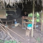 A destroyed hut that served as classroom