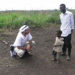 Jose Antonio Ruiz Diez with kid and teacher in DRC