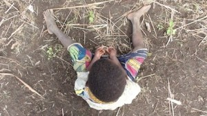 Child waiting for his new school in DRC