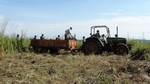This tractor means delivering materials and increased employment in the DRC